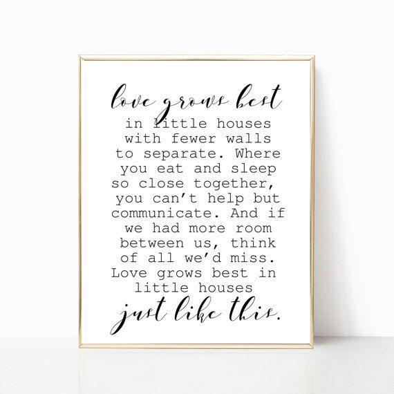 Love Grows Best In Little Houses Sign Printable Farmhouse Decor Fixer Upper Style Little Houses Creative Wall Decor Printable Art