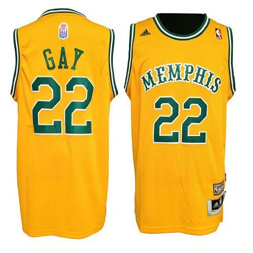 finest selection d45a3 3ba67 Grizzlies #22 Rudy Gay Yellow Hardwood Classic Stitched NBA ...