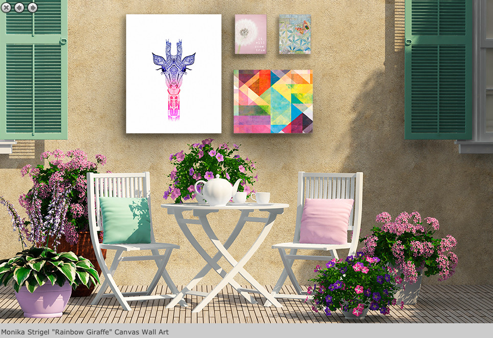 Outdoor canvas rainbow giraffe by monika strigel bring your outdoor patio to life with this artistic outdoor canvas wrap featuring gorgeous artwork by
