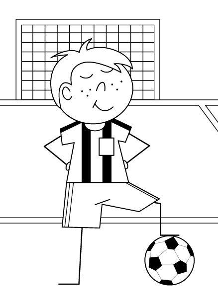 Coloriage De Football.Coloriage D Un Petit Garcon Footballeur Coloriage Football