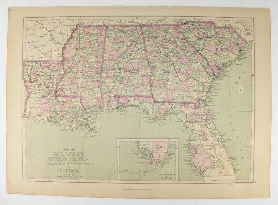 Map Of Florida Georgia South Carolina.1873 Antique Florida Map Georgia South Carolina Map Louisiana
