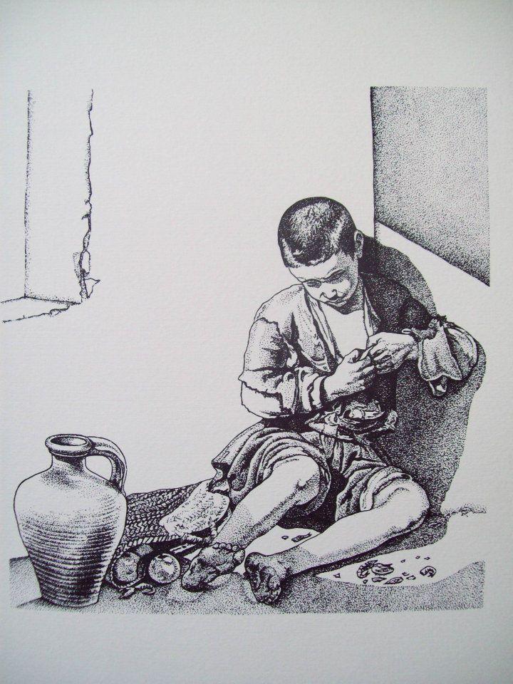 """Serigrafia eseguita con tecnica a punti tratta da """"Il piccolo mendicante"""" di B.E. Murillo"""
