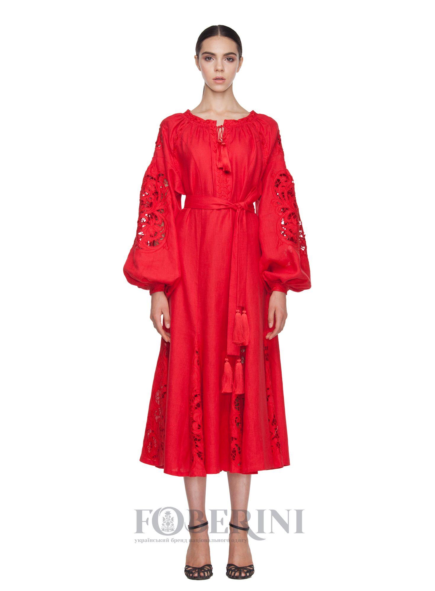 aca9544d8446c4 Сукня-вишиванка «Мар`яна» червоного кольору, з вишивкою Рішельє. Зараз