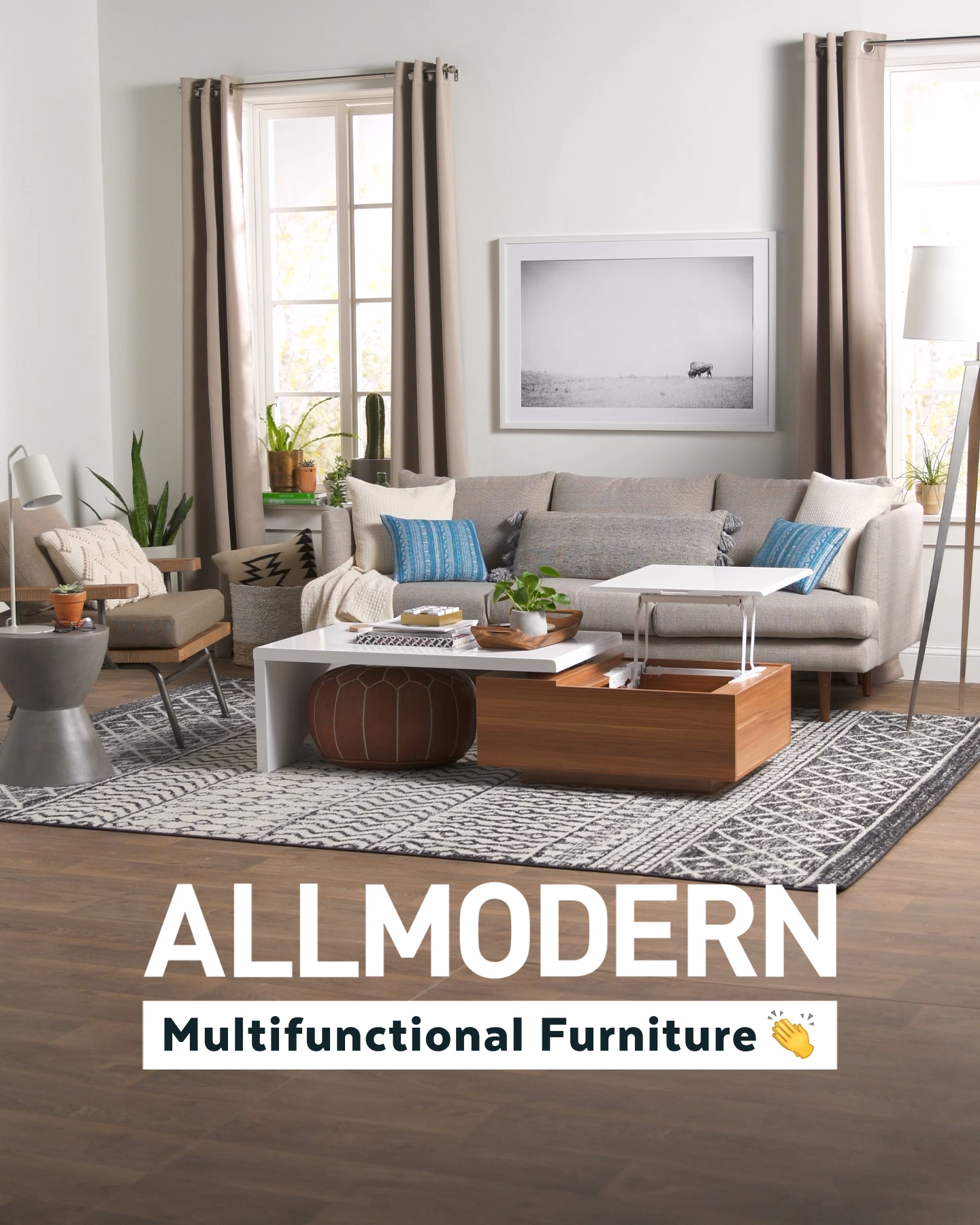 Shop AllModern for up to 65% off modern furniture and free shipping. AllModern has the 2-in-1 furniture you need to keep up with your busy life. Whether you're on the hunt for a storage coffee table, sleeper sofa, or wall shelf, we've got you covered. (And don't forget the fun stuff – like art, rugs, and pillows!) For even more ideas to help streamline and simplify your living room, bedroom, or entryway, sign up for AllModern emails.