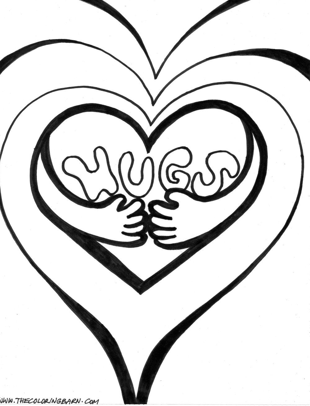 Un bonito dibujo de un corazn formando un abrazo de amor