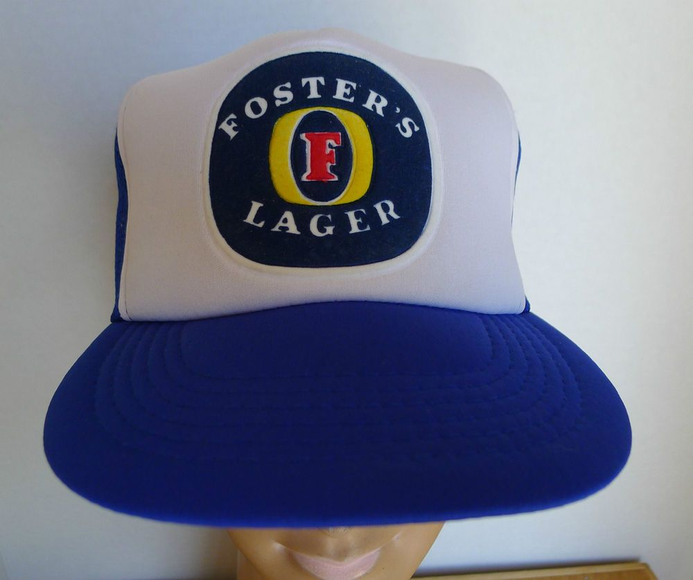 Foster s Lager Trucker Hat Cap Snap-back Blue   White 1980 s Fuzzy Decal  307ac29f3