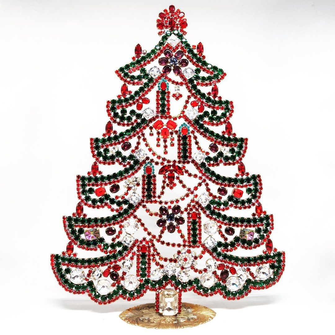 We have small, pocket sized (12 cm) strass trees, middle ones (~20cm) but also 30 cm big home decorations that wont't be left unnoticed by your guests! #christmas #christmastree #christmasdecorating #christmasornament #christmasideas #bohemianchristmas #bohemianjewelry #bohemia #czechmade #prague #manufacture #handmade #vintage #strass #rhinestonetree #decoration #home #collection #prague #homedecoration #decoration