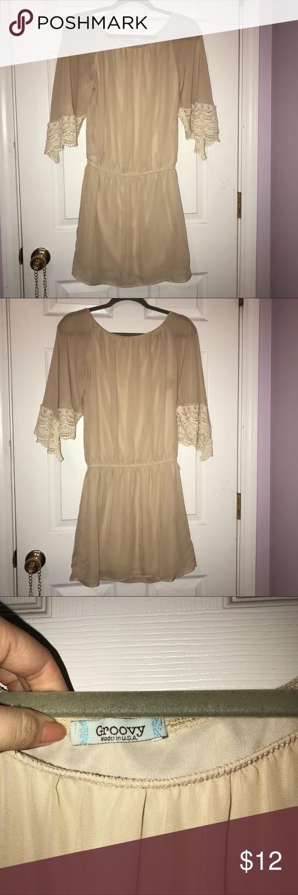 Sheer Tan Cream Long Sleeve Dress Cream Long Sleeve Dress Dresses Lace Shorts [ 1740 x 580 Pixel ]