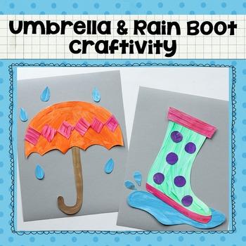 Umbrella And Rain Boot Printable Craftivity Template Rain Crafts