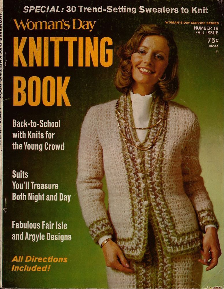 Vtg Knitting Crochet Pattern Womans Day Fair Isle Argyle Sweater ...