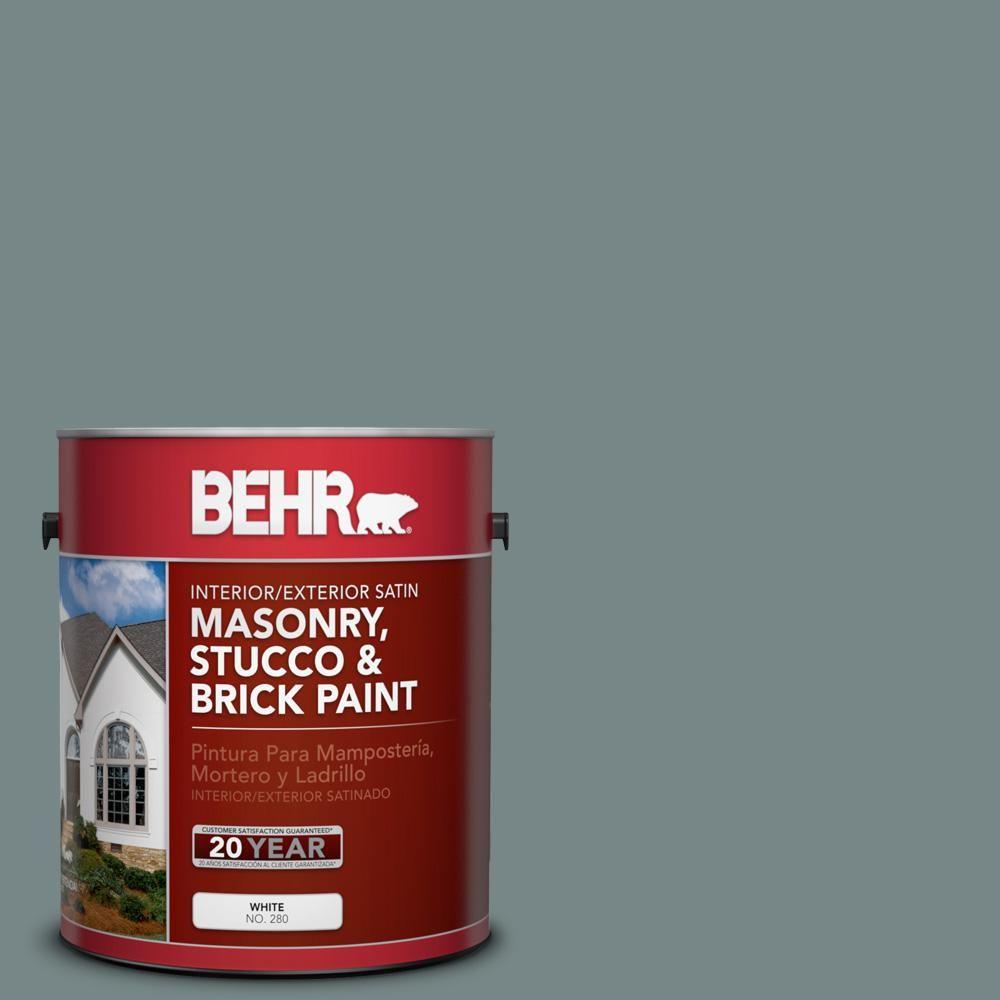 BEHR 1 gal. #PPU12-16 Juniper Ash Satin Interior/Exterior Masonry, Stucco and Brick Paint