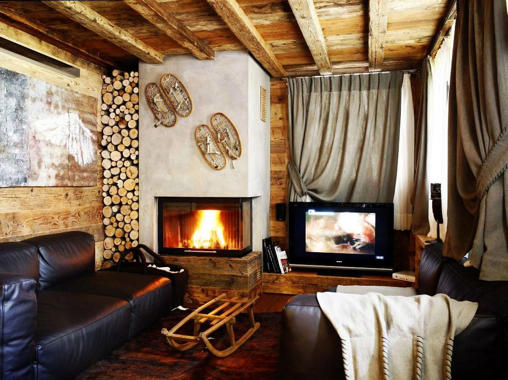 Fireplace, Log Store, Living Space, Ampezzo Meleres in Cortina d ...