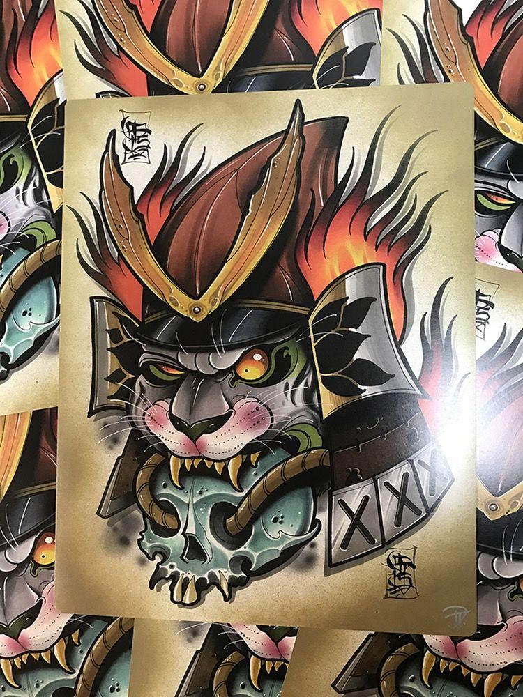 Image of Samurai Kitty Print Neo traditional tattoo, Cat