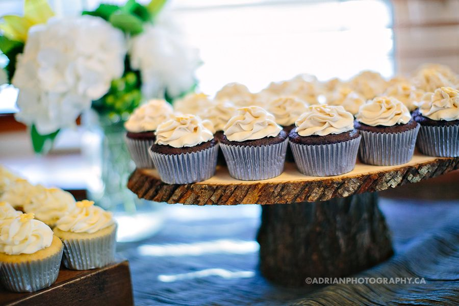 Yellow and grey rustic themed wedding cupcakes