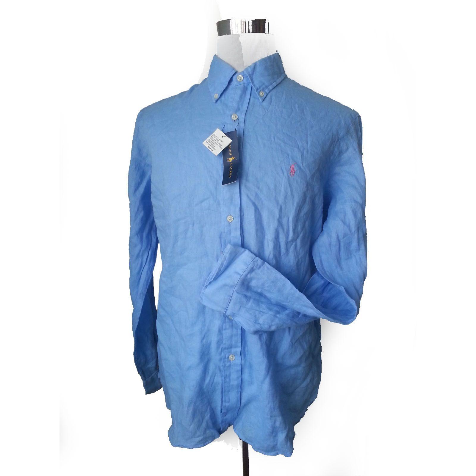 Green dress shirt mens Ralph Lauren Men Size XL Blue  LINEN ButtonDown Dress Shirt