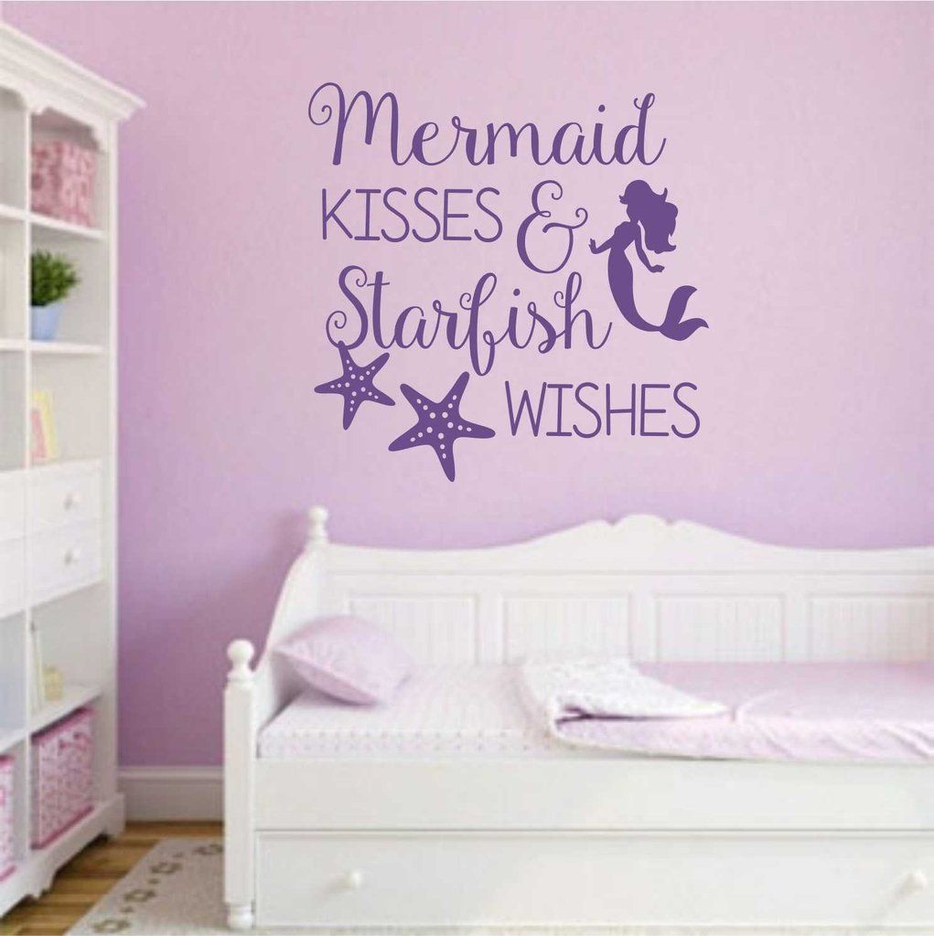 mermaid kisses starfish wishes decal vinyl lettering wall