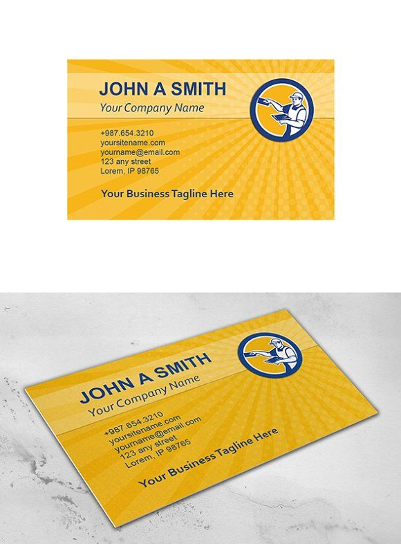 Business Card Template Plasterer Wit Business Card Template Business Cards Creative Templates Business Card Template Design