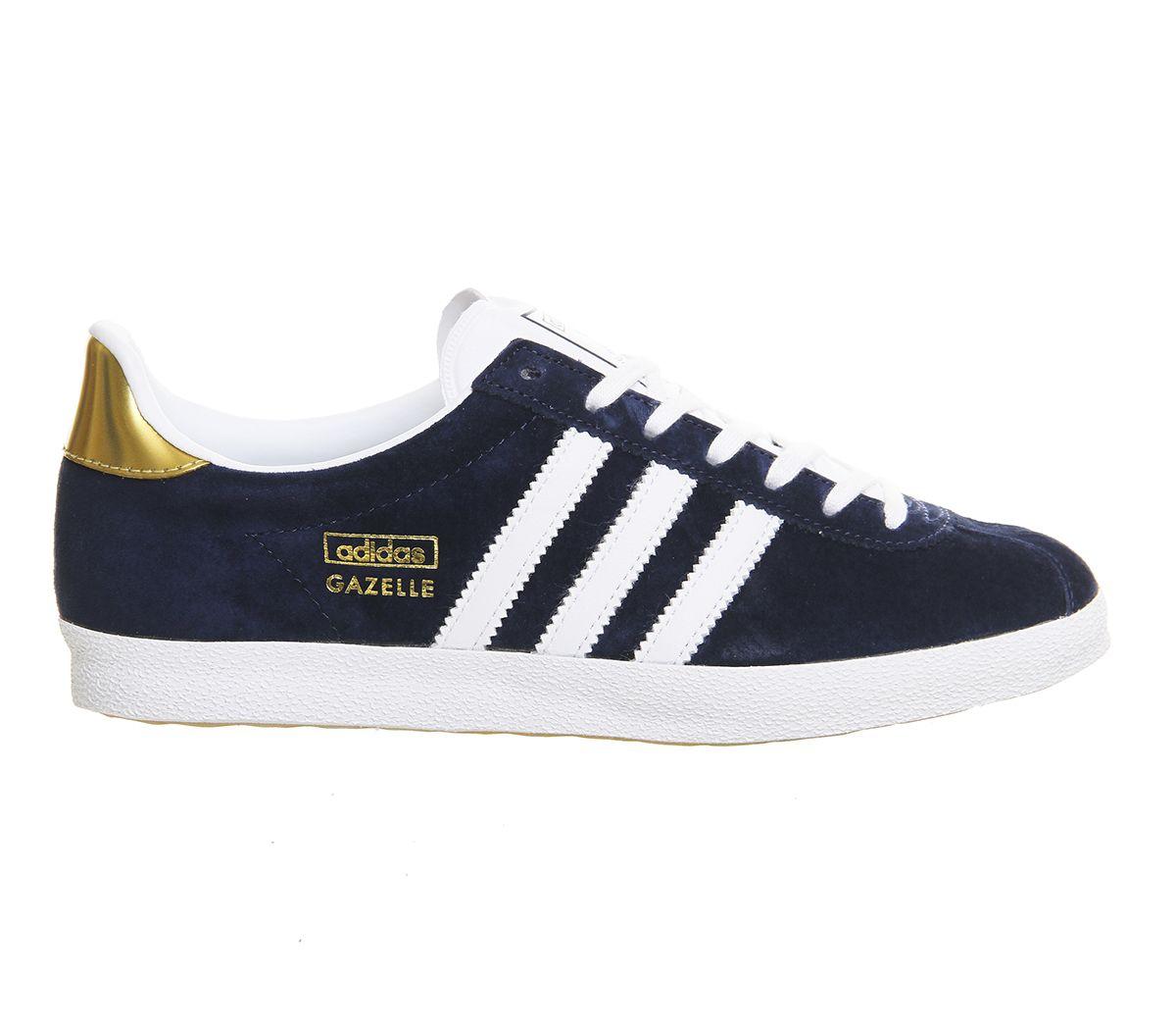 Buy Night Indigo White Metallic Gold Adidas Gazelle Og Trainers from  OFFICE.co.uk