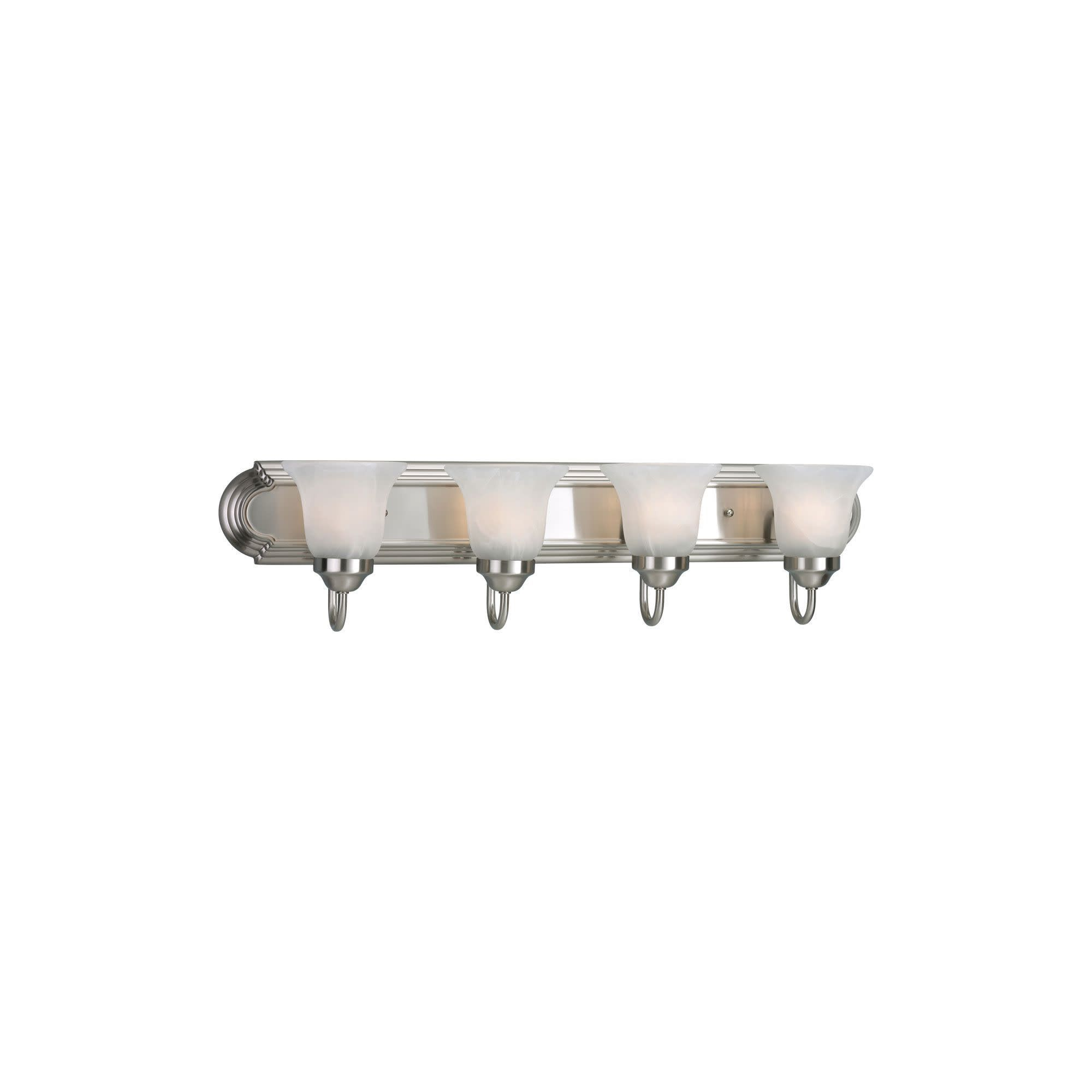 Photo of Progress Lighting P3054 Builder Bath Series Four-light bathroom mixer with etched alabaster glass shades – brushed