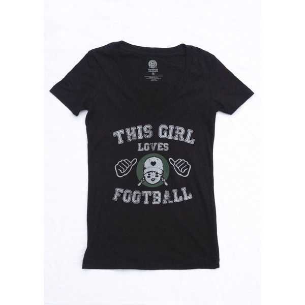 Juniors Graphic Tee This Girl Loves Football Shirt Nfl College... ( 19) ❤  liked on Polyvore 0709bb90c