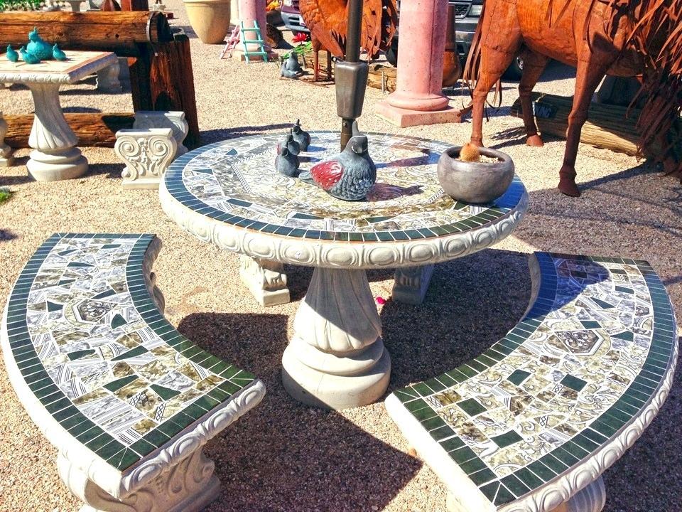 concrete tile patio table bench
