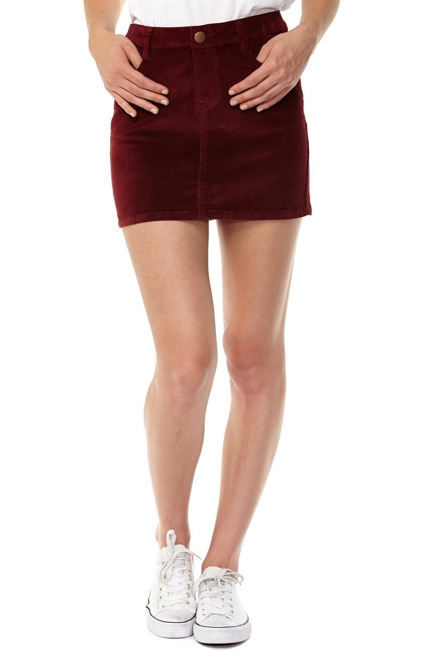 Maroon Denim Skirt - Dress Ala
