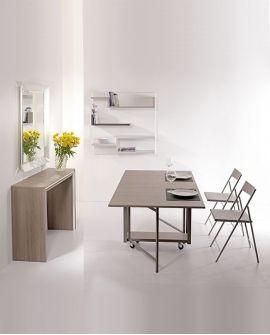 Table A Rabats Sur Roulettes Avec Rangement Pour Chaises Pliantes Syra Design Decoracao Moveis
