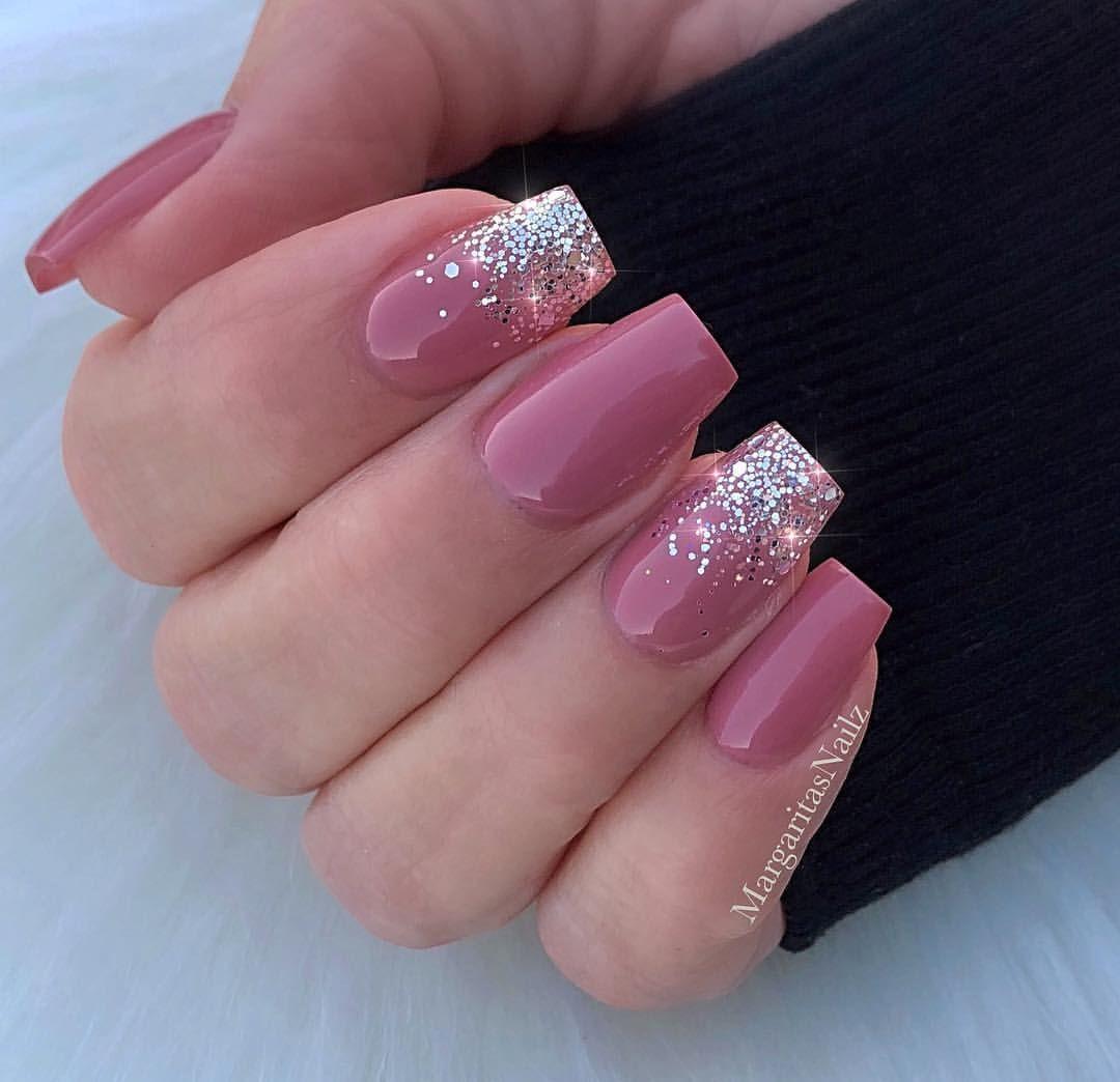 Silver Glitter Ombre Mauve Nails Natural Nail Design By Margaritasnailz Naturalnails Nailart Gelnails Mattenails Mauve Nails Classy Nail Designs Classy Nails