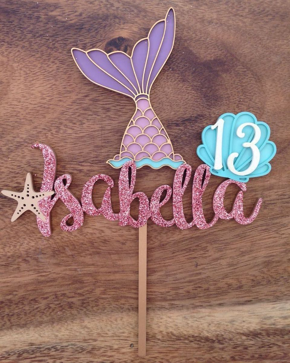 Cake Topper Tema Sirena Caketopper Cake Sirenita Hbd Cumpleanos Mdf Lasercut Mermaid Theme Birthday Mermaid Diy Diy Birthday Banner
