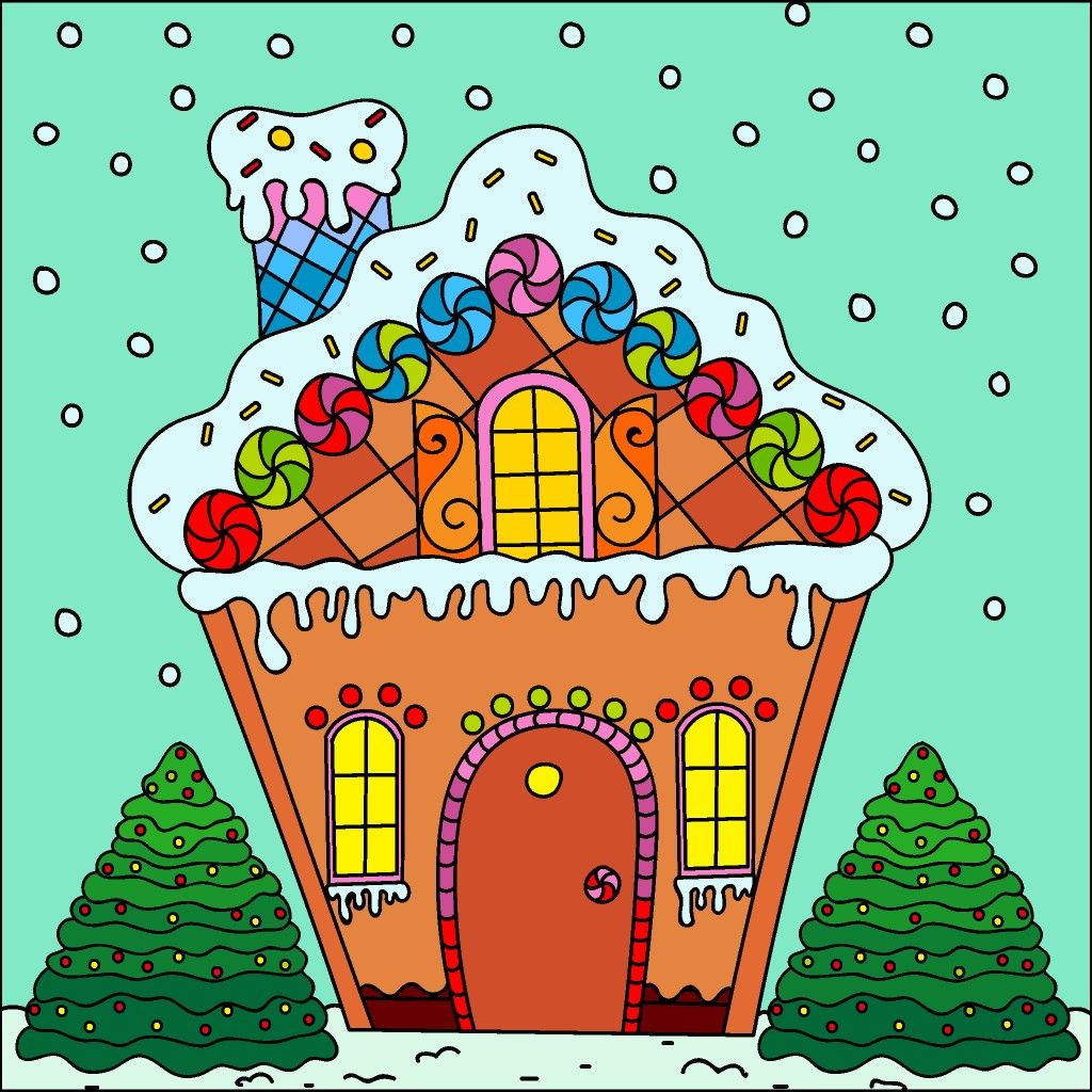 Gingerbread House | Coloring book app, Colorful wallpaper ...