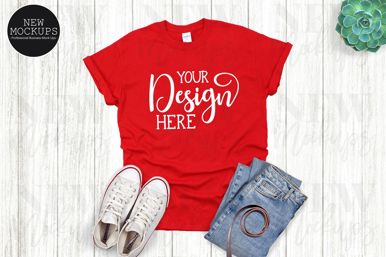 Download Gildan 500 Red Unisex T Shirt Mockup Flat Lay Shirt 963356 Clothing Design Bundles Shirt Mockup Tshirt Mockup Clothing Mockup