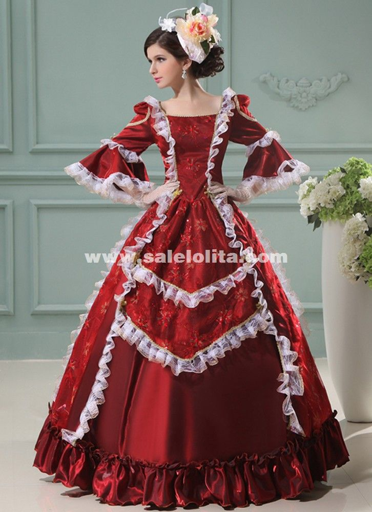 Marie Antoinette Dress Wine Red Floral Printing Renaissance Princess ...