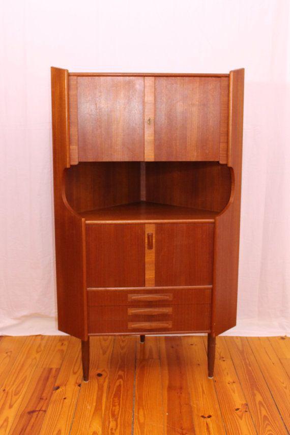 Wonderful Danish Mid Century Modern Corner Cabinet By IndreByDesign On Etsy