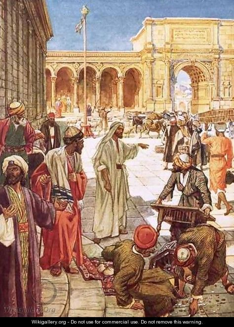 Christ driving the money changers from the temple...by Wm. Brassey Hole