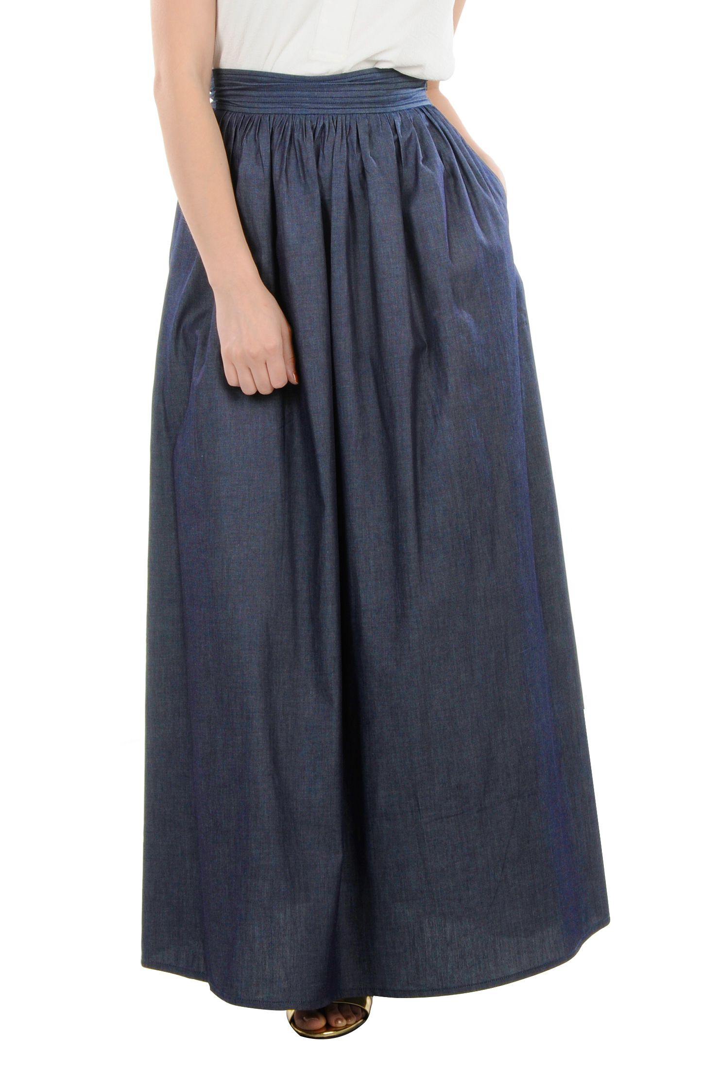 65b2987f24 Chambray Denim Long Skirts, Cotton Chambray Ruched Pleats Maxi Skirts  Womens Designer Skirts - Women's Black Skirt, White Skirt, Denim chambray  Skirt, ...
