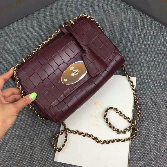 2016 S S Mulberry Lily Crossbody Bag in Oxblood Deep Embossed Croc Print  Leather 93c091b728f23