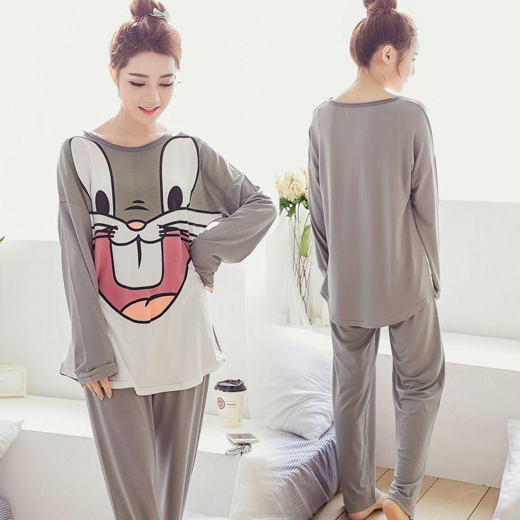 Lange mouw pyjama sets voor vrouwen Cartoon bugs bunny melk zijde nachtkleding lady Casual en najaar nachtkleding kleding