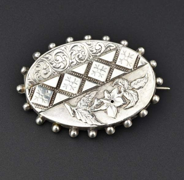 Photo of Victorian Silver Flower Brooch,Sweetheart Pin 1800s