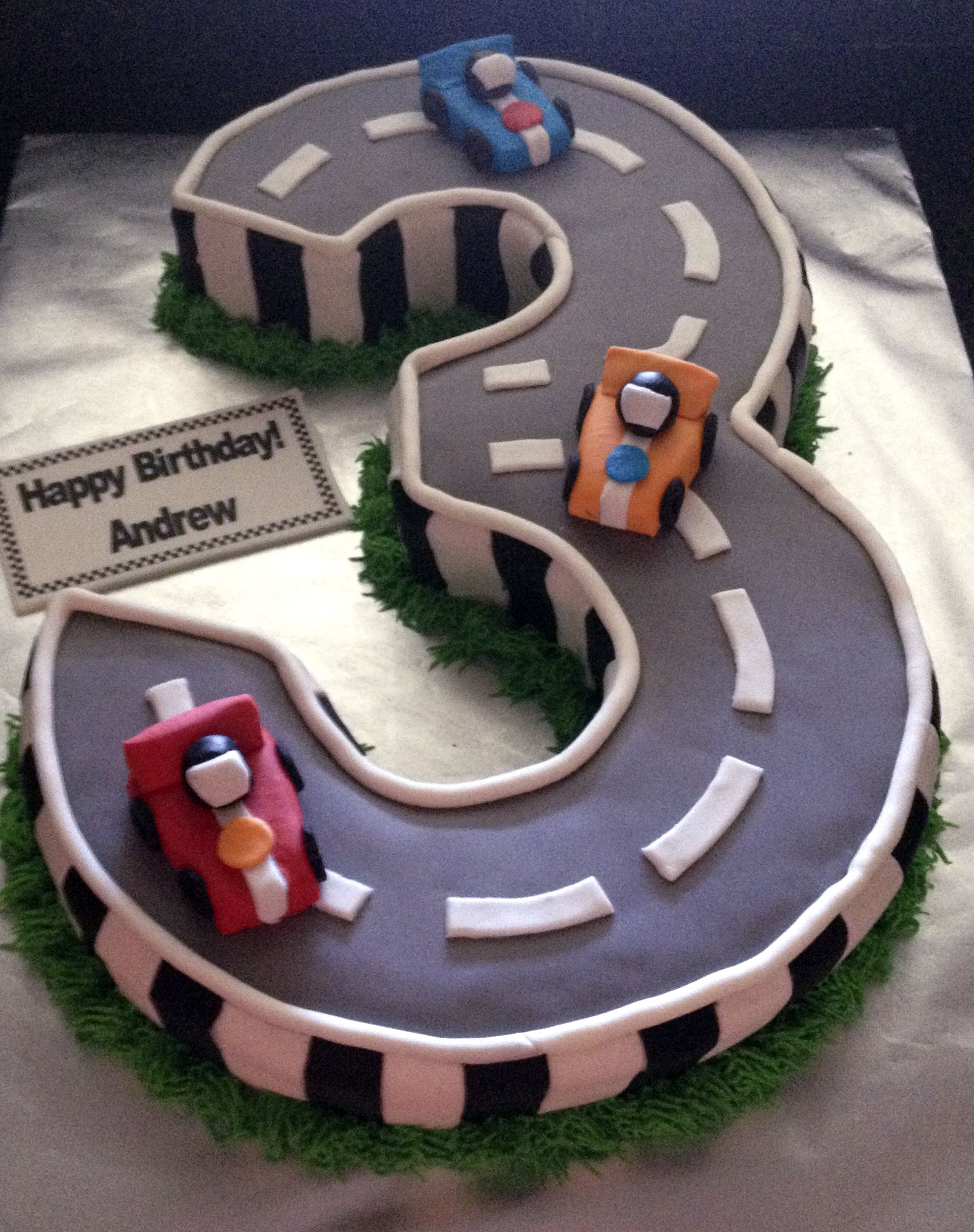 Number 3 Race Car Cake | Sweet IRB cakes | Race car cakes ...