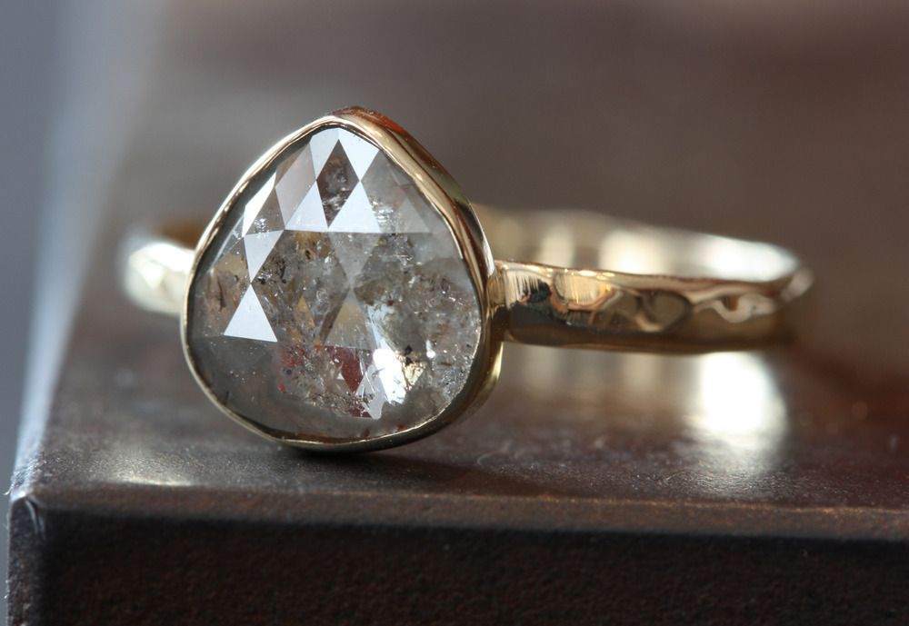 Conflict-free diamond jewelry by Alexis Russell (shown: Silver White Diamond RIng in 14kt Yellow Gold)