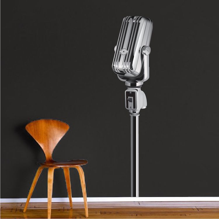 Microphone mural decal microphone wall decal murals primedecals · modern