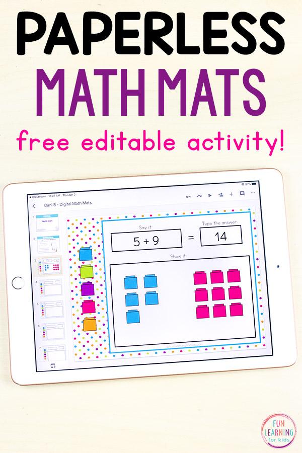 Editable Math Mats for Google Classroom and Seesaw Math