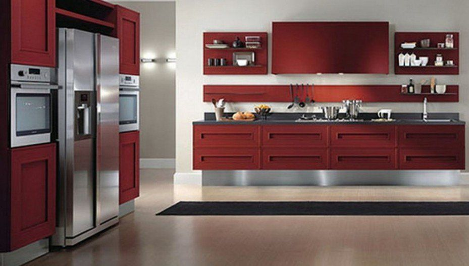 Sweet Ultra Modern Kitchen Design With Red Kitchen Cabinets Red
