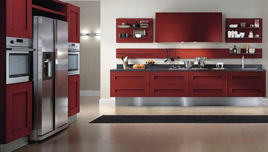 Sweet Ultra Modern Kitchen Design With Red Kitchen Cabinets