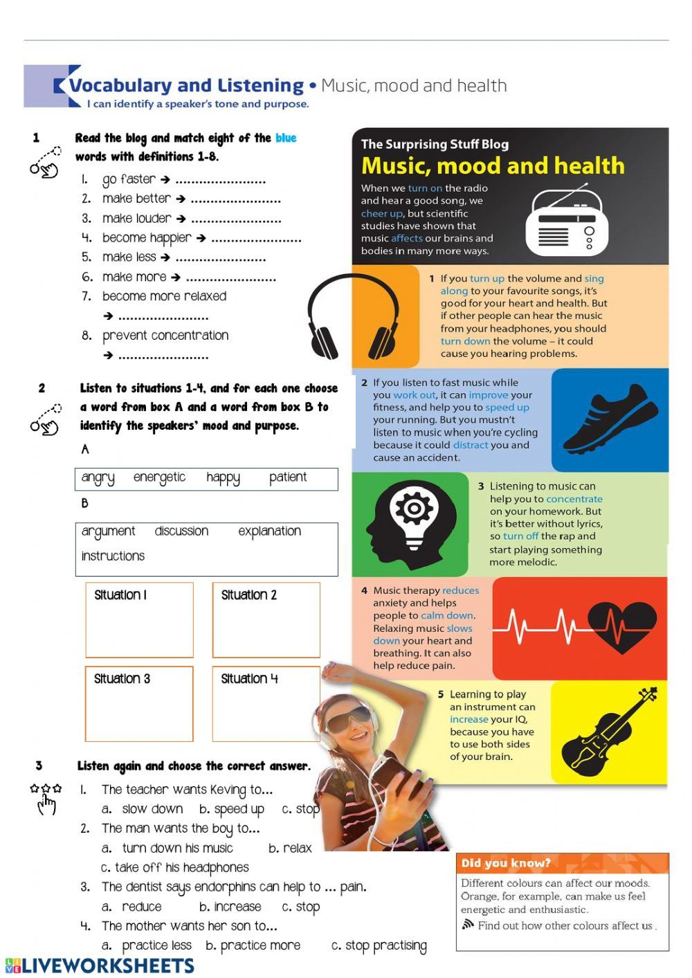Music Mood And Health Worksheet In 2021 Music Listening Worksheet English As A Second Language Esl Feelings And Emotions [ 1413 x 1000 Pixel ]