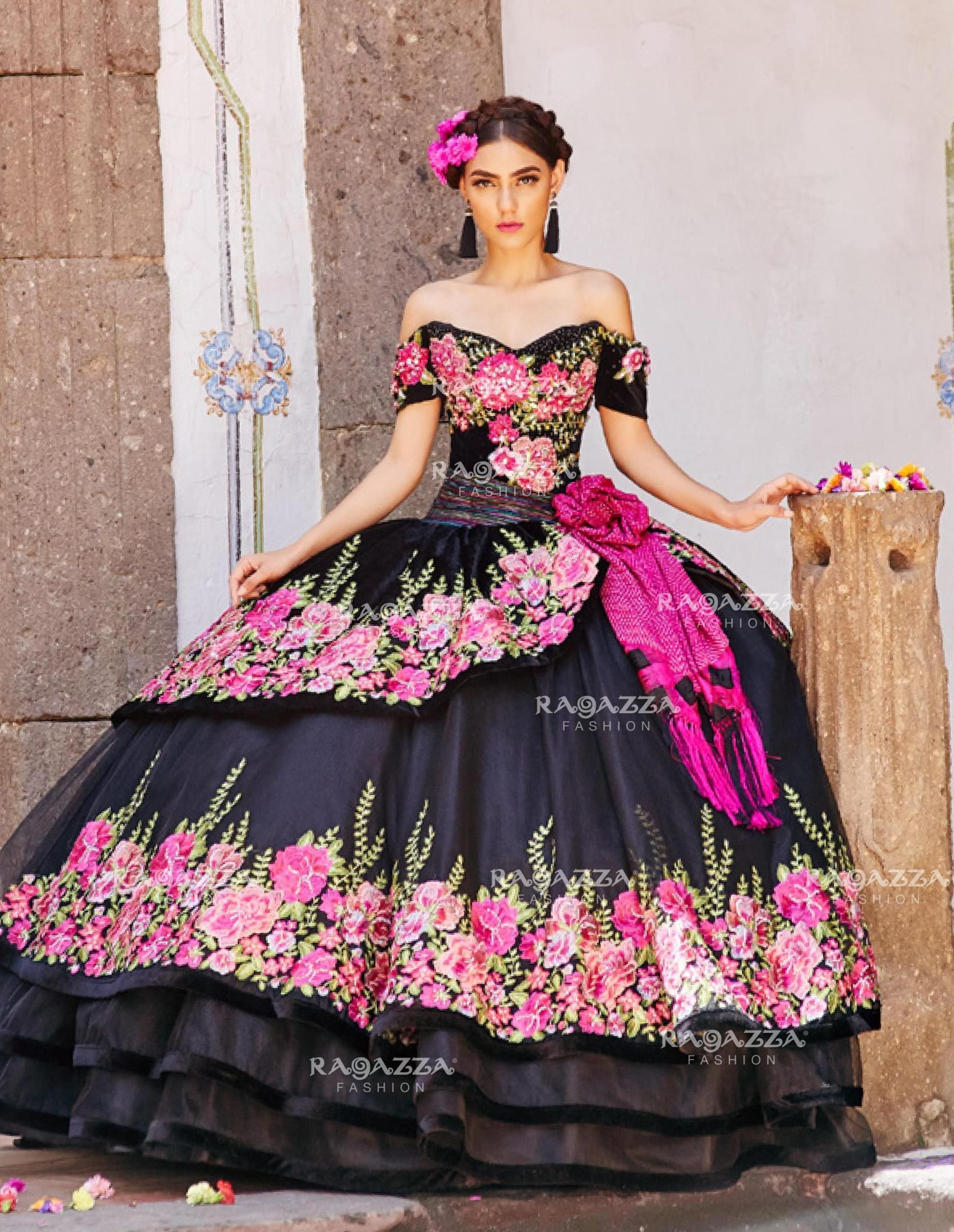 Floral Charro Quinceanera Dress by Ragazza Fashion MV15 ...