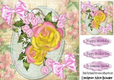 Pretty yellow pink roses with bows 8x8 on Craftsuprint - Add To Basket!