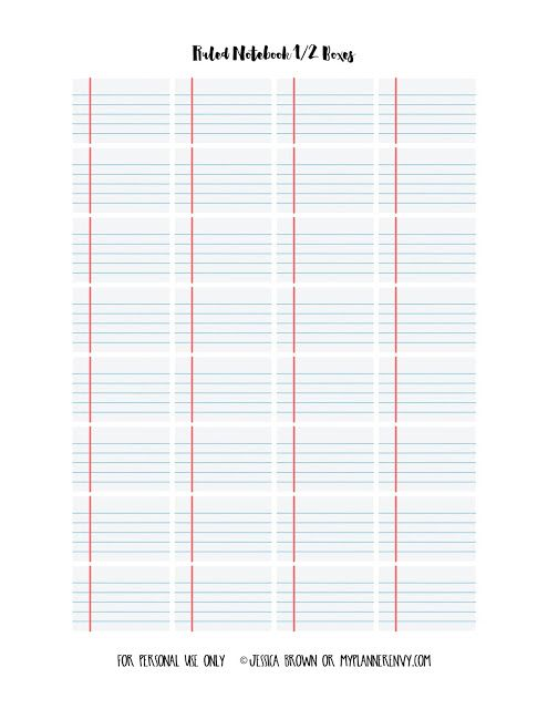 Ruled Notebook Graph Paper 1 2 Boxes - Free Planner Printable (My - printable graph papers