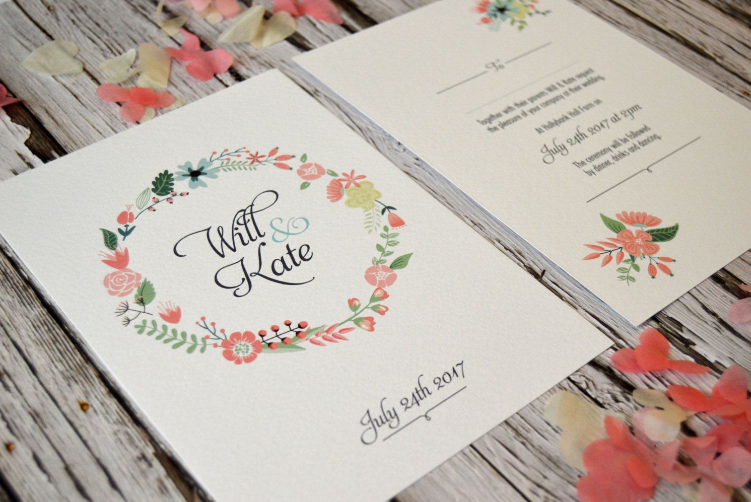 Pretty Floral Wedding Bundle Sample, Rustic Country Boho Stationery, RSVP, SAMPLE ONLY by CandyFaceCreative on Etsy