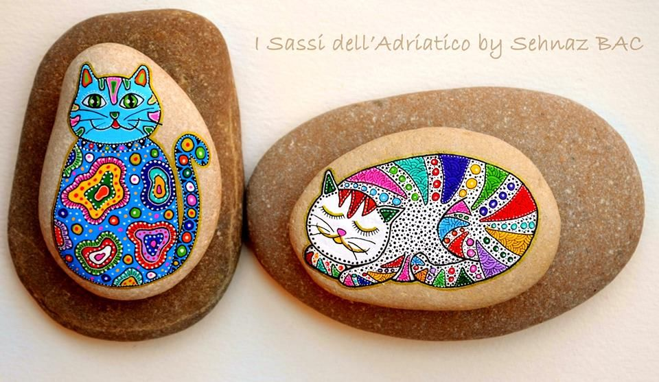 Hand painted cats on pebble rocks https://www.facebook.com/ISassiDelladriatico